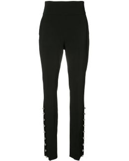 High Waist Metal Ball Hem Trousers