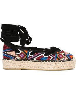 Beaded Lace-up Espadrilles