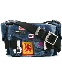 Patched Denim 'postman' Bag
