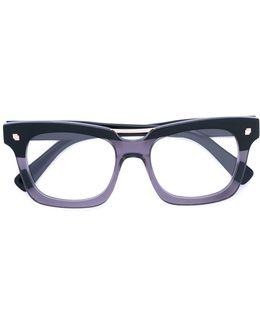Colour Block Square Frame Glasses