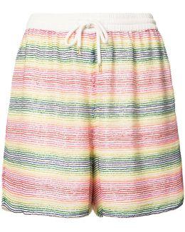 Beaded Striped Shorts