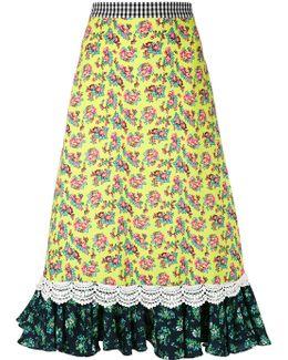 Ruffle Hem Midi-skirt