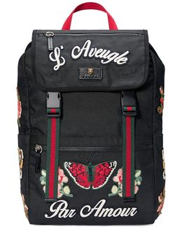 Embroidered Technical Canvas Backpack
