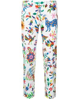 Floral-print Cropped Trousers