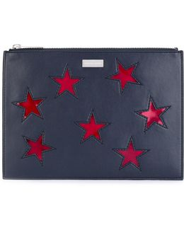 Embroidered Star Clutch Bag