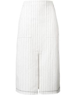 Striped Front Slit Skirt