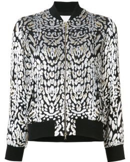 Leopard-print Velvet Bomber Jacket