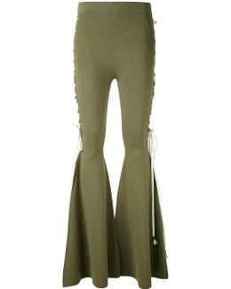 String Tie Flared Trousers