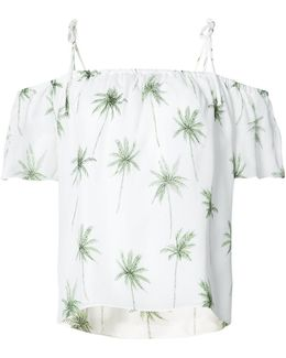Palm Print Off-shoulder Top