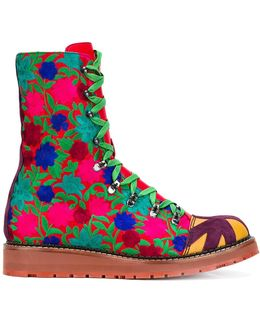 Embroidered Lace-up Boots