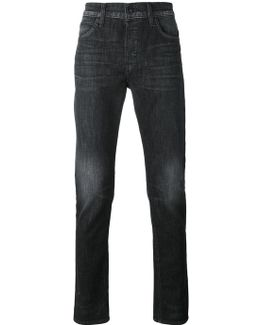 Straight Leg Faded Jeans