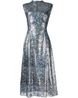 Long Lace Foil Dress