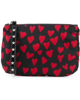 Heart Print Zipped Clutch