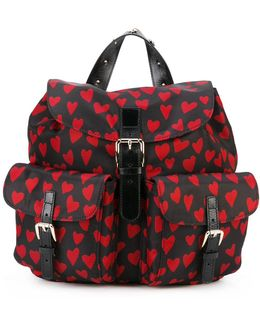 Heart Print Flap Backpack