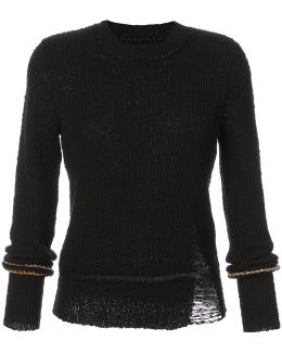 Long Sleeve Distressed Knitted Sweater