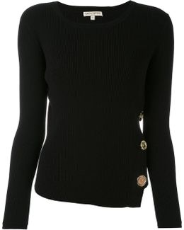 Ribbed Knit Buttoned Sweater