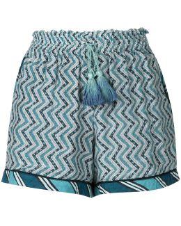Zigzag Print Ruched Shorts