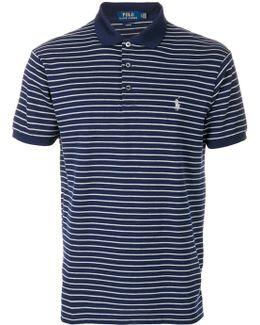 Logo Patch Striped Polo Shirt