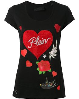 Rose And Heart Print T-shirt