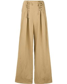 Lace-up Flared Trousers