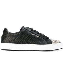 Studded Captoe Snake-effect Sneakers