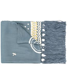 Bird Dinner Embroidered Scarf