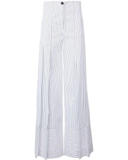 Wide-legged Striped Trousers