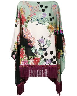 Floral Print Fringed Poncho