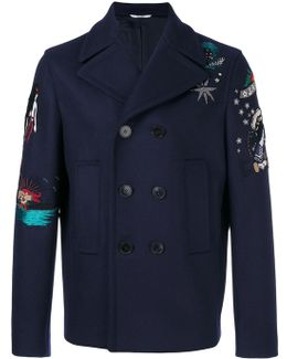 Tattoo Embroidered Peacoat