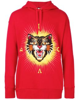 Angry Cat Applique Hoodie