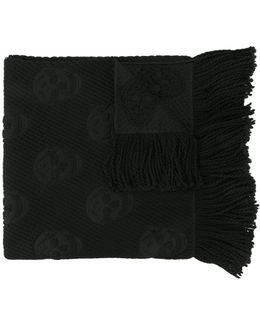 Skull Print Wool And Silk Scarf