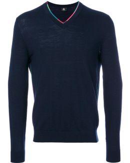 Multicolour Trim V-neck Sweater