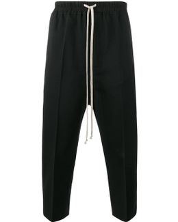 Cropped Tailored Trousers With Drawstring Waist Fastening