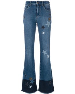 Star Patch Flared Jeans