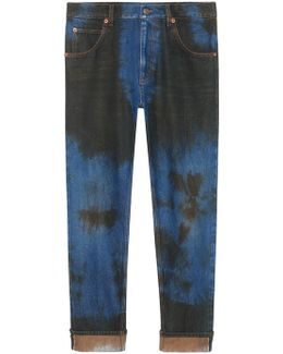 Washed Denim Loose Tapered Pant