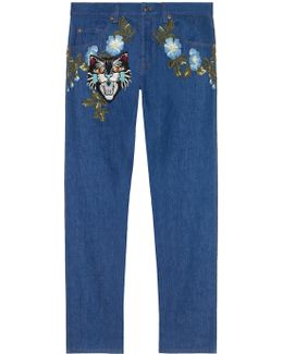 Tapered Denim Pant With Embroidery