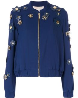 Flower Embellished Bomber Jacket
