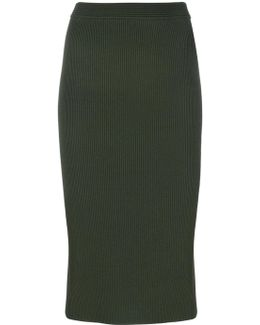 Ribbed Stretch-viscose Pencil Skirt