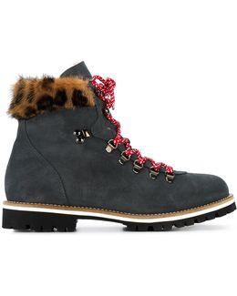 Grey Leopard Mink Fur Lined Ankle Boot