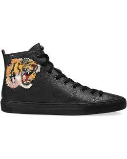 Sneaker Alta In Pelle Con Tigre