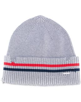 Distressed Striped Beanie