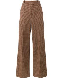 Micro Check Wide-leg Trousers