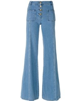 Scalloped High-rise Flared Jeans