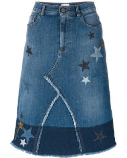 Star Patches Denim Skirt