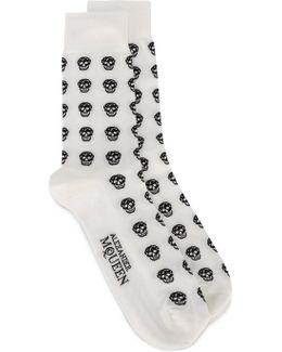 Micro-skulls Cotton-blend Socks