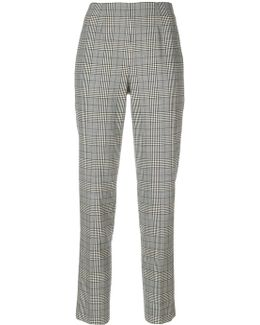 Plaid Print Straight Trousers