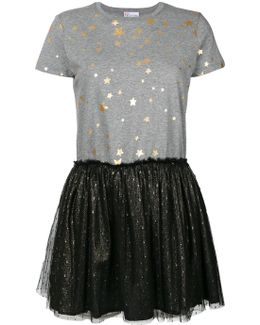 Star Printed T-shirt Dress With Tulle Skirt