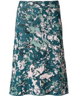 Patterned Lurex Midi Skirt