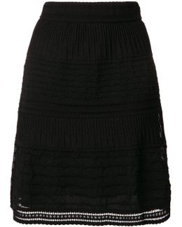 Layered Open Embroidery A-line Skirt