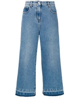 Denim Cropped Wide Leg Jeans